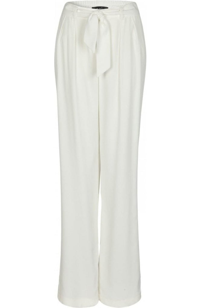 Oui Off White Wide Leg Trousers