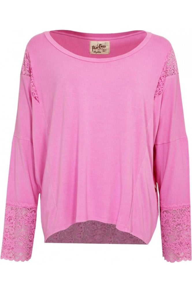 A Postcard from Brighton Pink Jersey Lace Detail Top