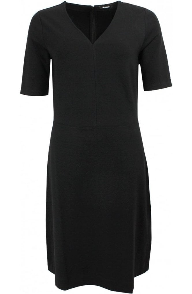 Olsen Black V Neck Dress