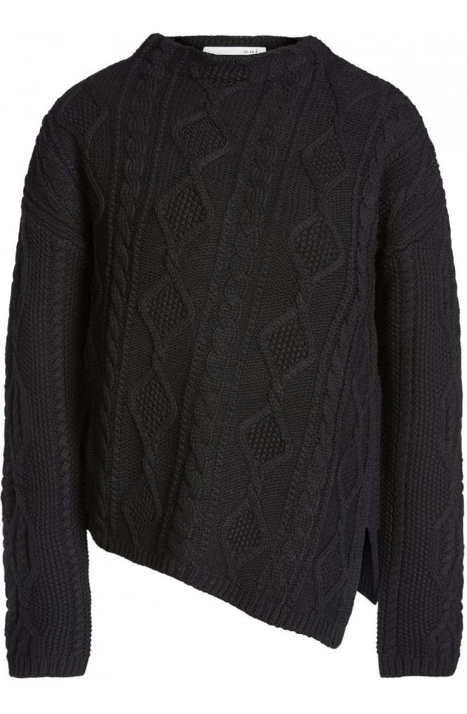 Oui Black Cable Knit Sweater