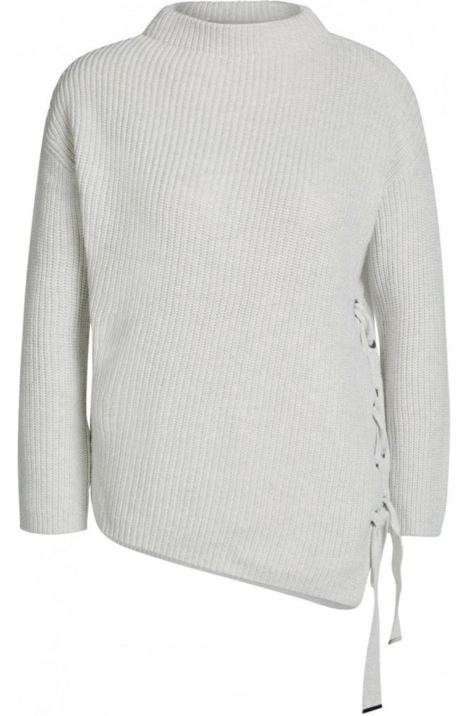 Oui Rib Knit Tie Detailed Sweater
