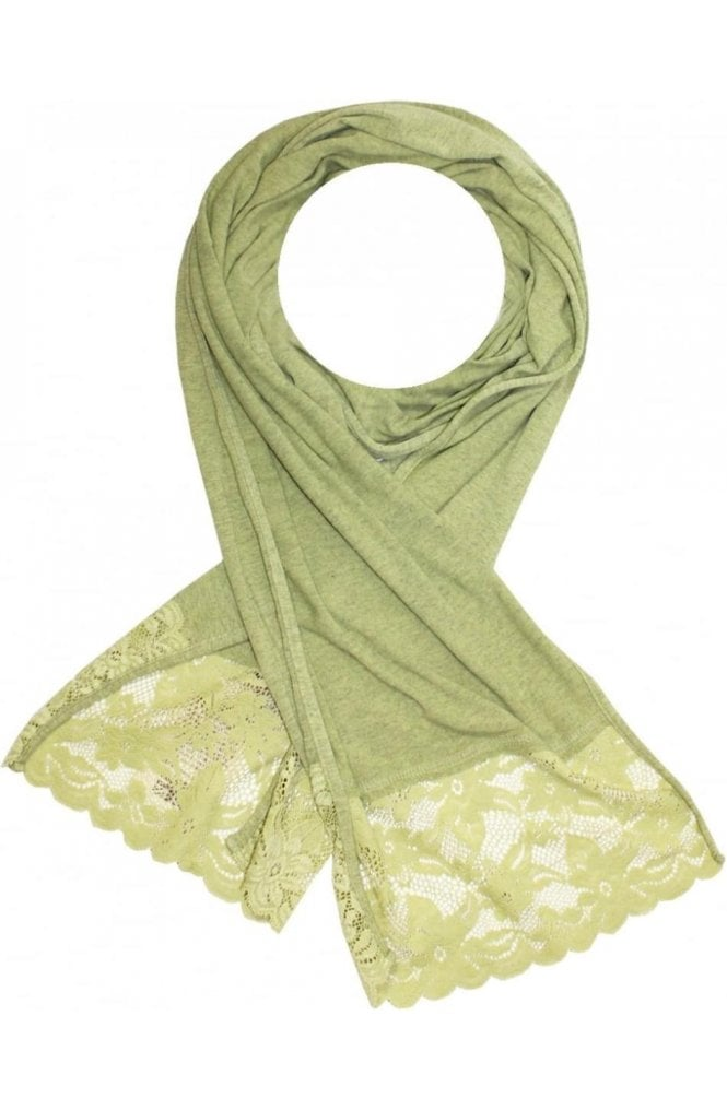 A Postcard from Brighton Lime Marl Lace Hem Scarf