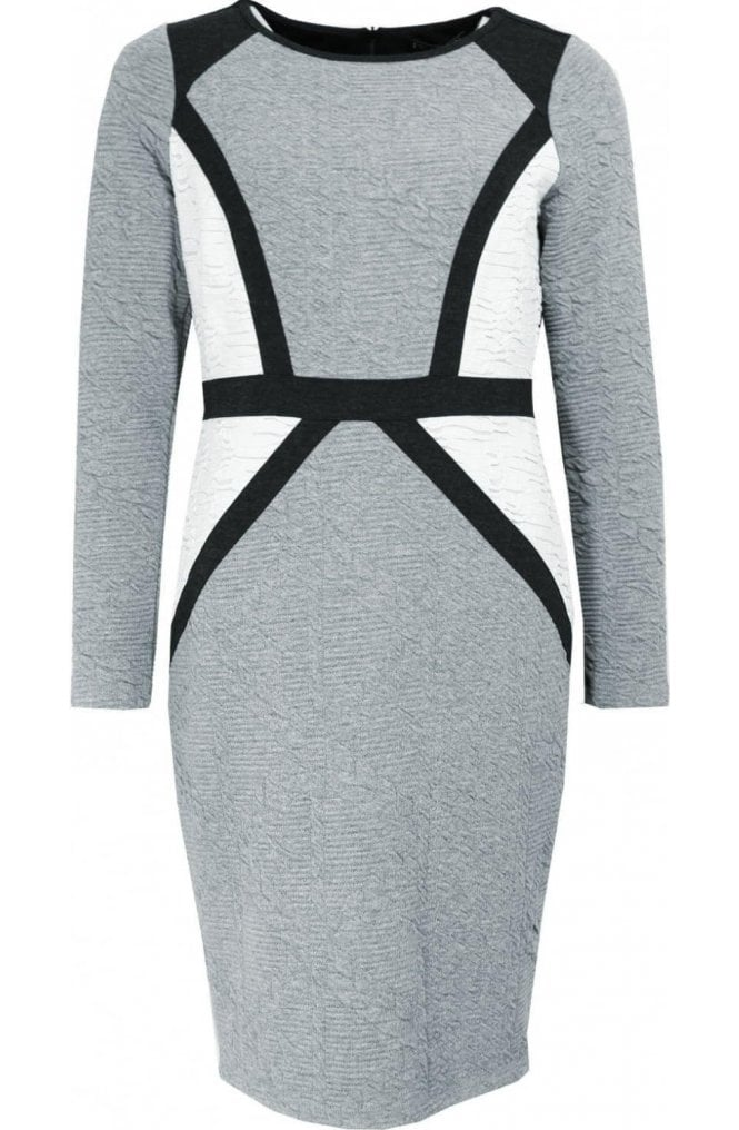 Picadilly Grey and Cream fitted Dress