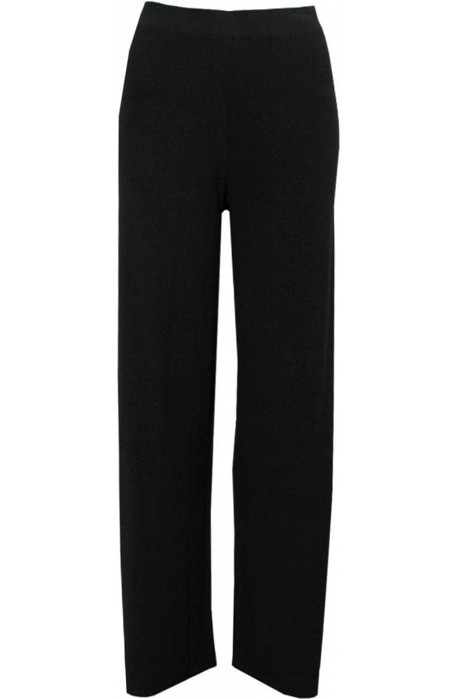 A Postcard from Brighton Wide Leg Black Jersey Trousers