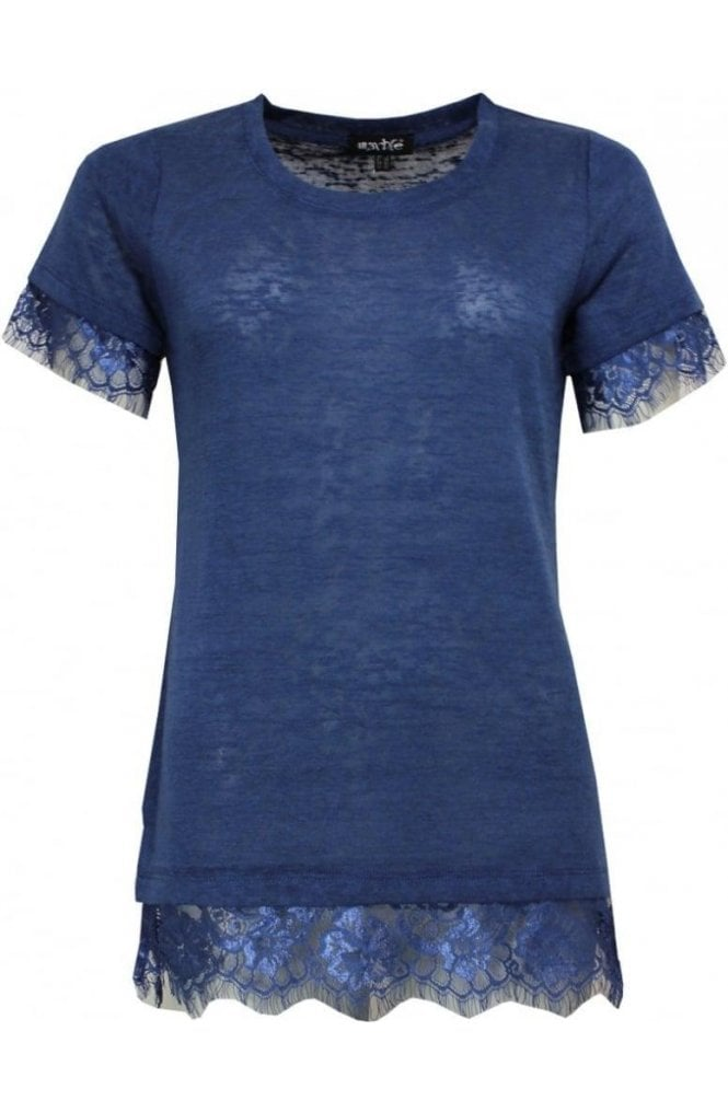 Marble fashion Blue Lace Detailed Top