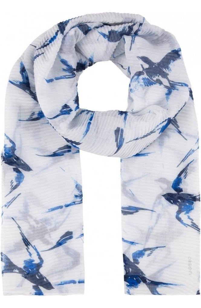 Olsen Bird Print Pleated Scarf
