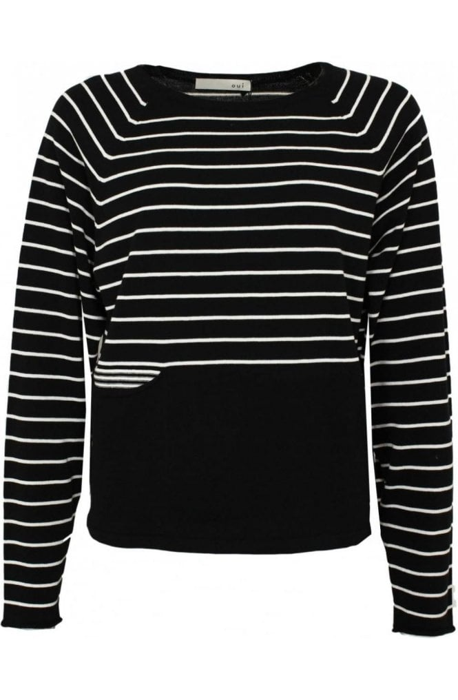 Oui Black and white striped Sweater