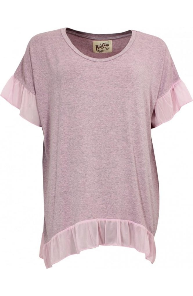 A Postcard from Brighton Pink Marl Frilled Detailed Top