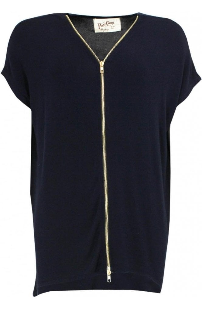 A Postcard from Brighton Navy Zip Front Top