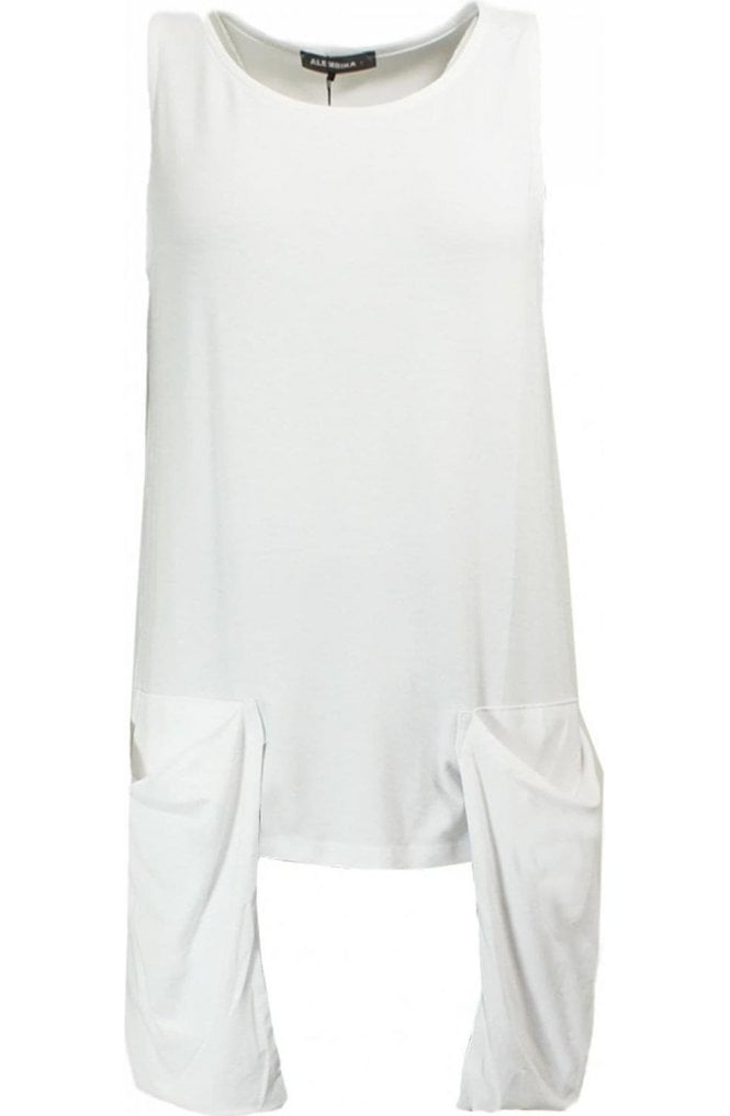 Alembika White Slouch Pocket Top