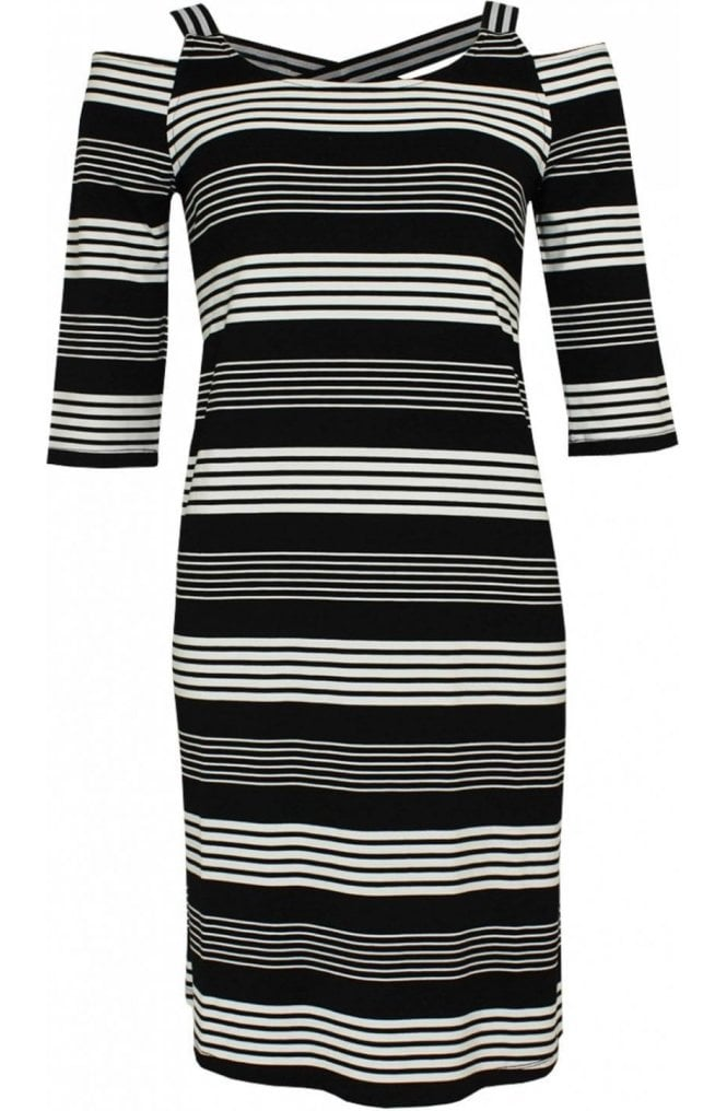 Yest Striped Cold Shoulder Dress