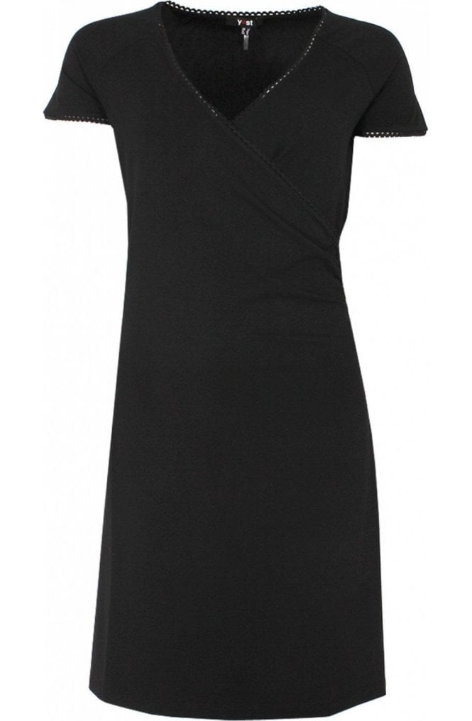 Yest Black Wrap Front Dress