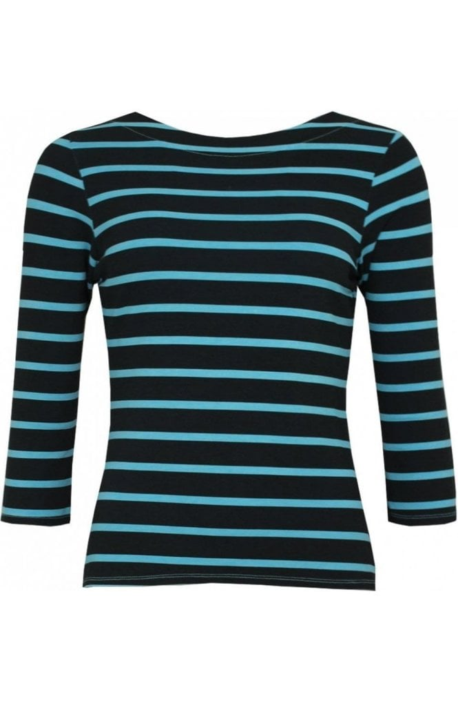A Postcard from Brighton Blue Striped Jersey Top
