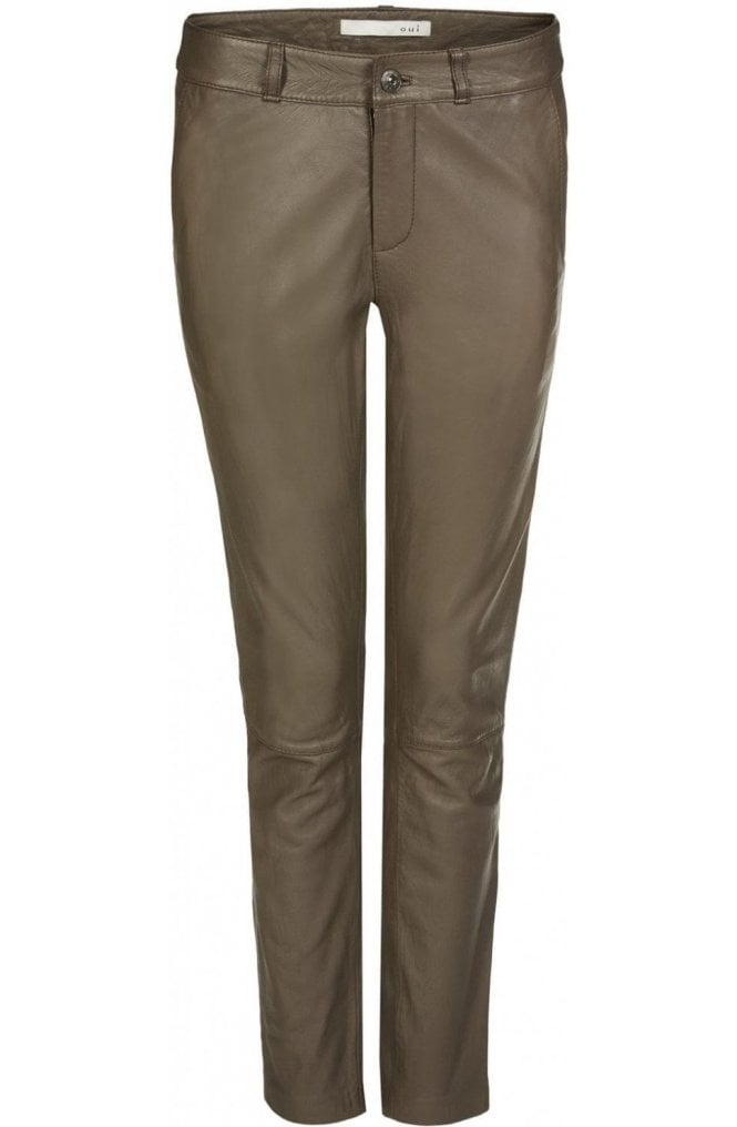 Oui Brown Leather Trousers