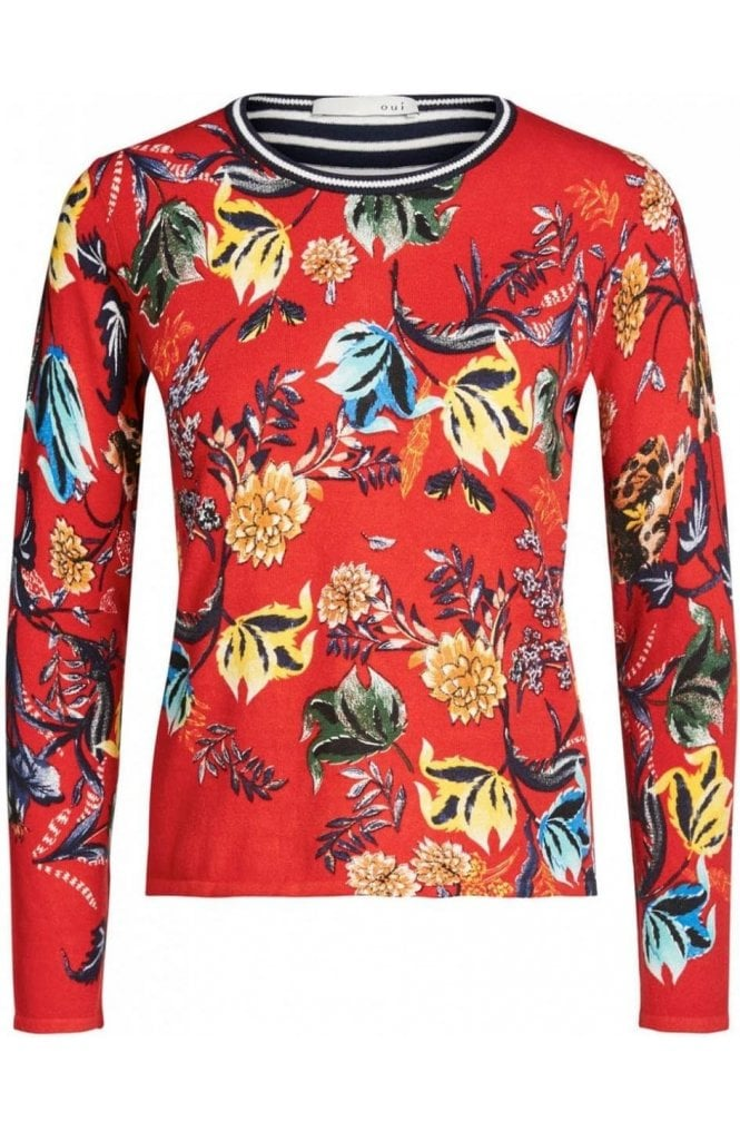 Oui Contrasting Bold Floral Sweater