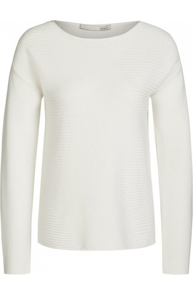 Oui Cream Ribbed Sweater