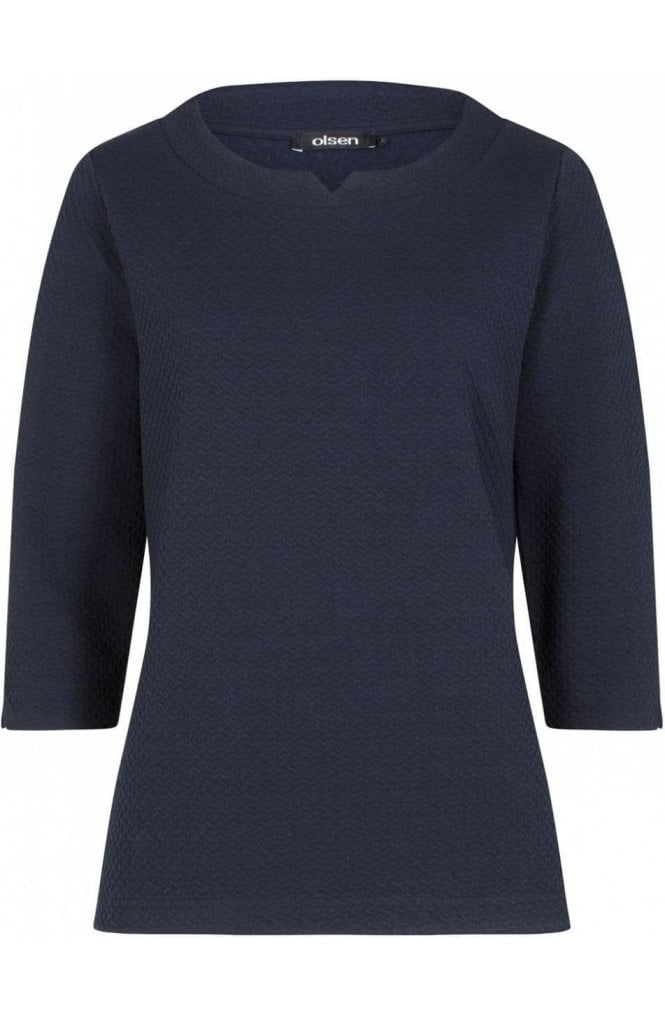 Olsen Navy Embossed Top
