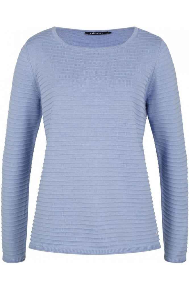 Olsen Blue Ribbed Knit Sweater