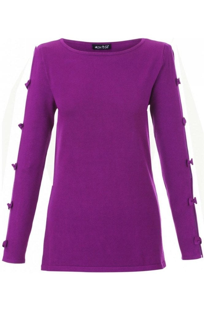Marble fashion Purple Bow Sleeve Sweater