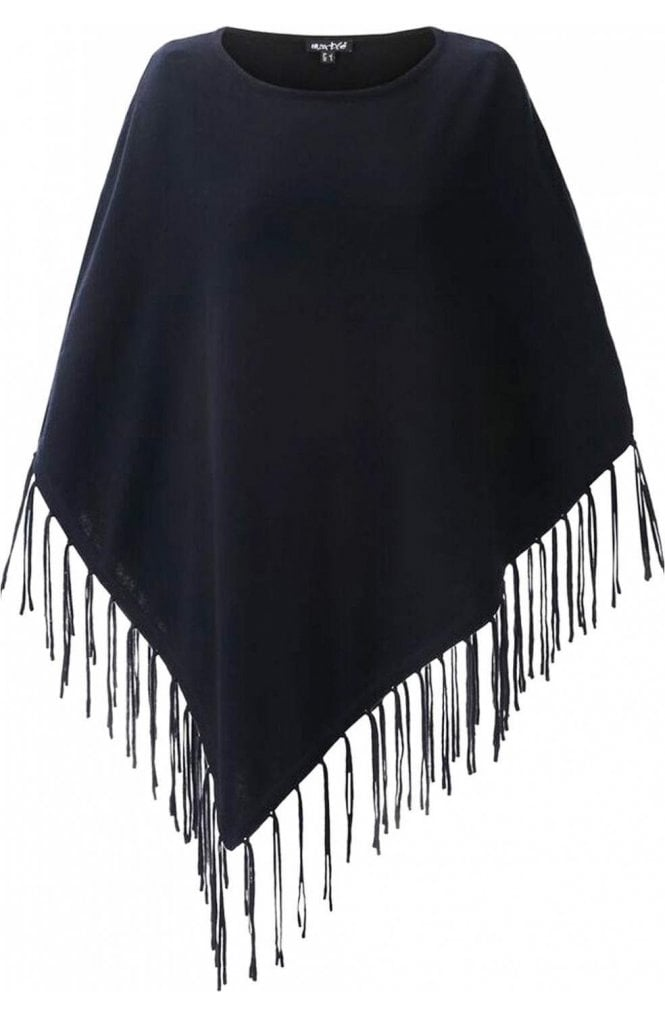 Marble fashion Black fine knit Poncho