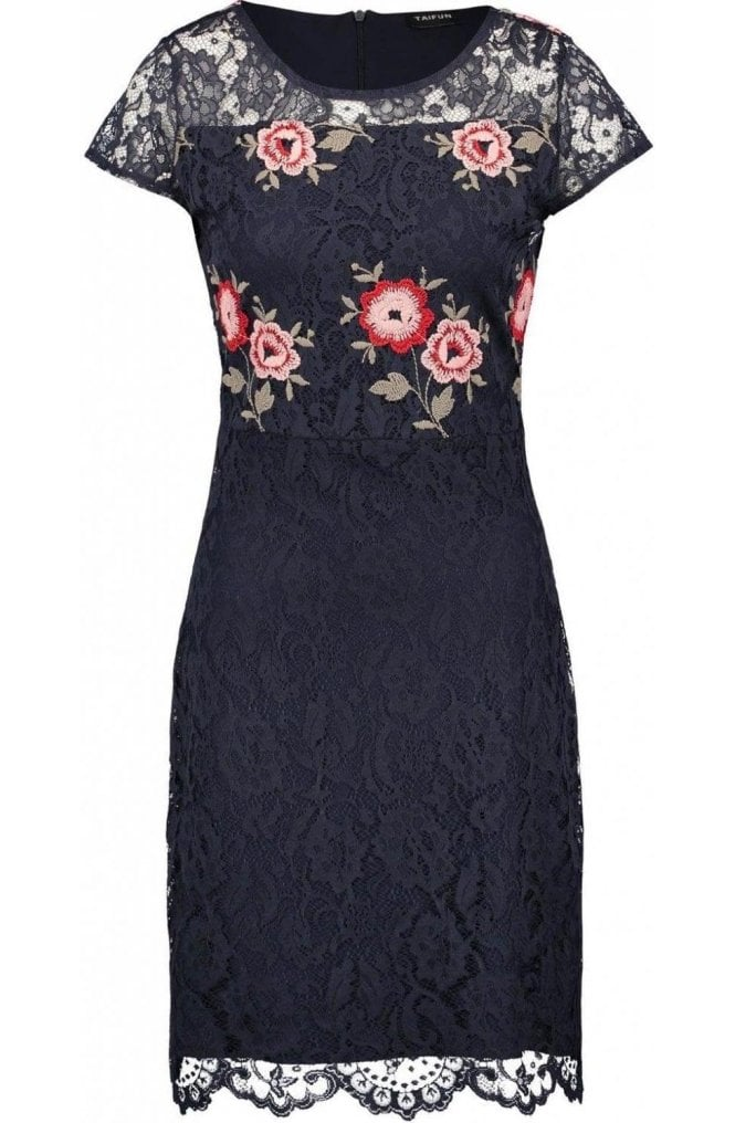 Taifun Navy Floral Lace Dress
