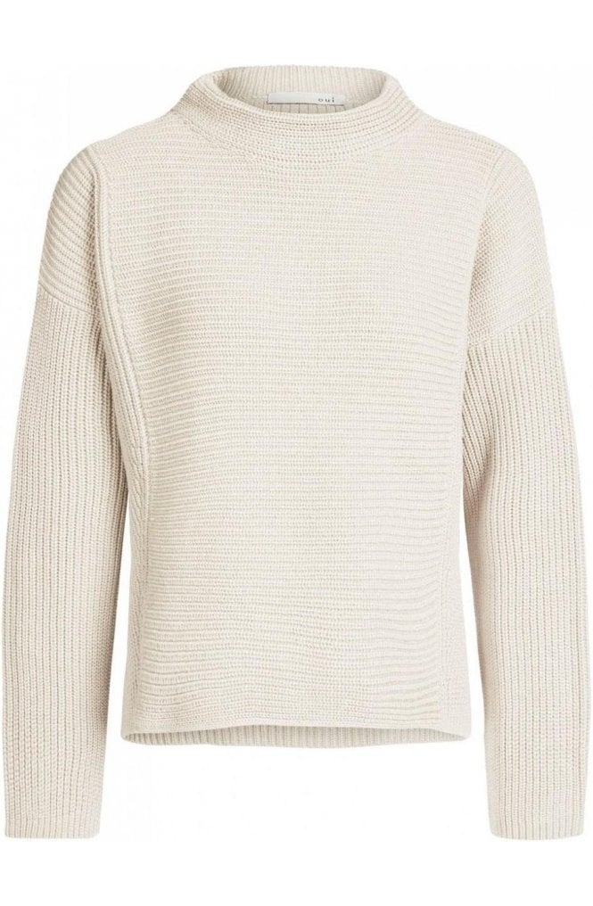 Oui Cream Ribbed Knit Sweater