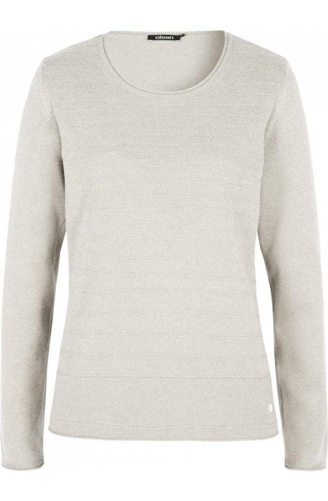 Olsen Cream Contrasting Knit Sweater