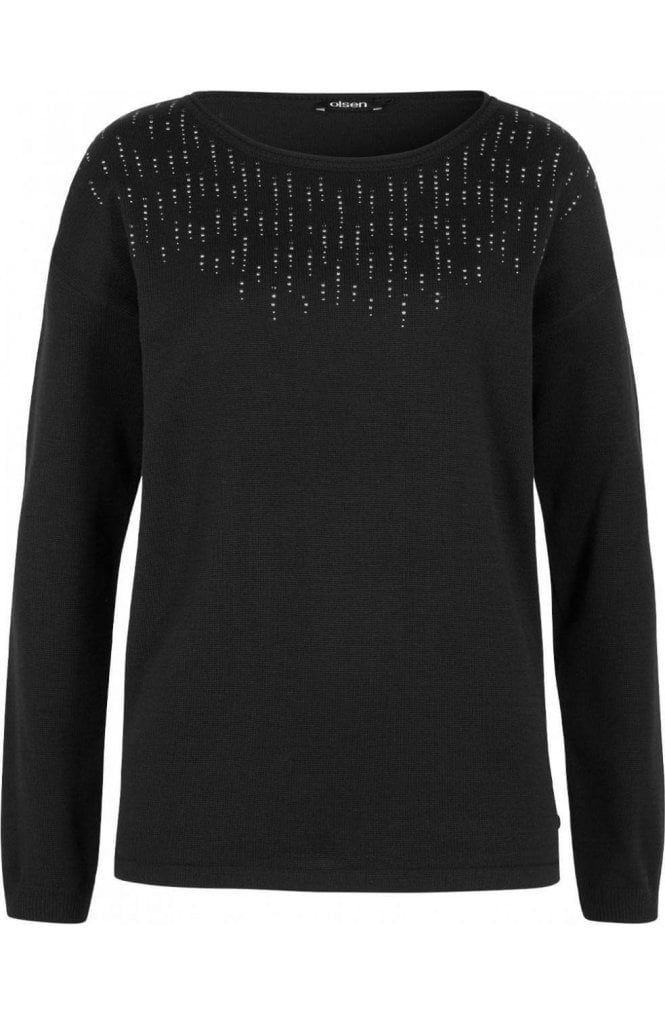 Olsen Black Sliver Detailed Sweater