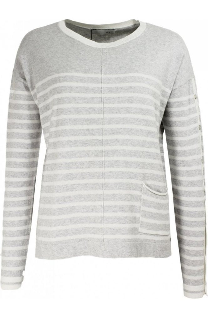 Oui Grey & Off White Striped Sweater