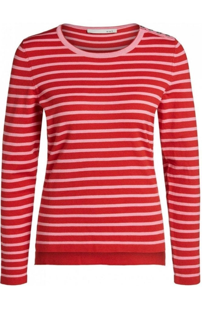 Oui Red Rose Striped Sweater