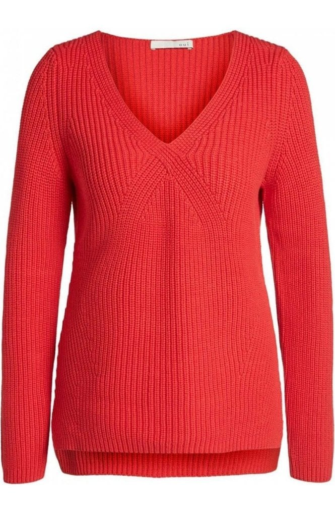 Oui Lipstick Red Ribbed Knit Sweater