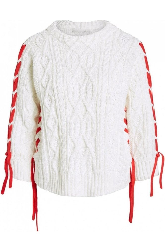 Oui Cloud Print Cable Knit Sweater