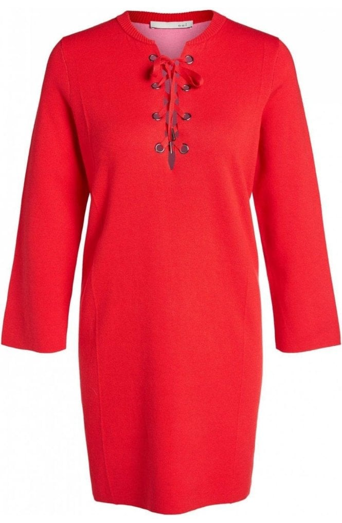 Oui Lipstick Red Knit Lace Front Dress