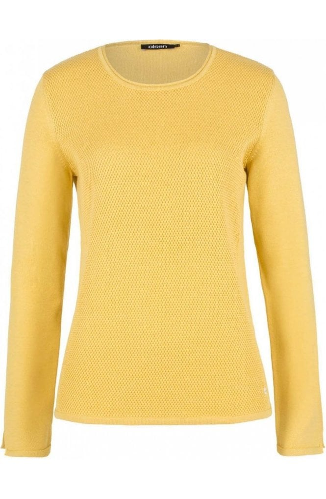 Olsen Cream Yellow Textured Knit Jumper