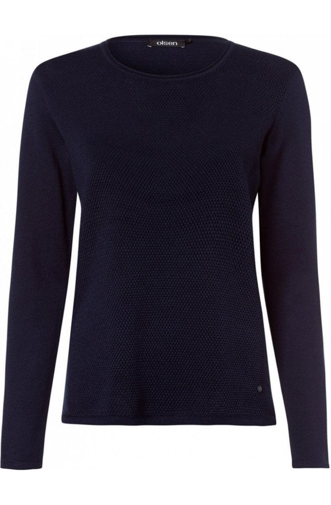 Blue Navy Textured Knit Jumper