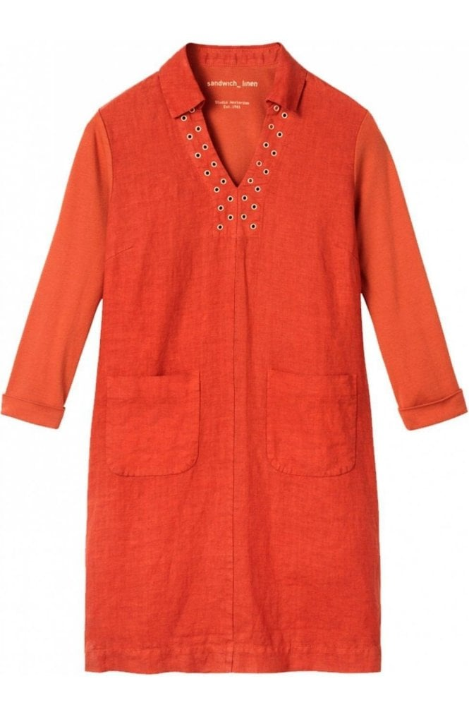 Sandwich Clothing Burnt Red Linen Shift Dress