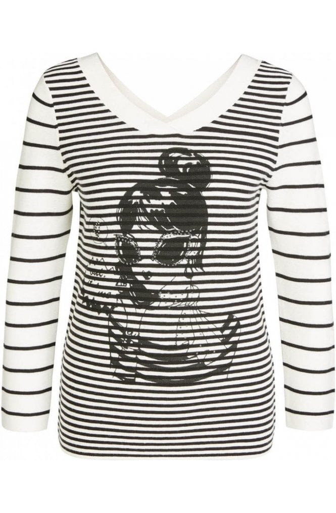 Oui Black & White Contrasting Striped Jumper