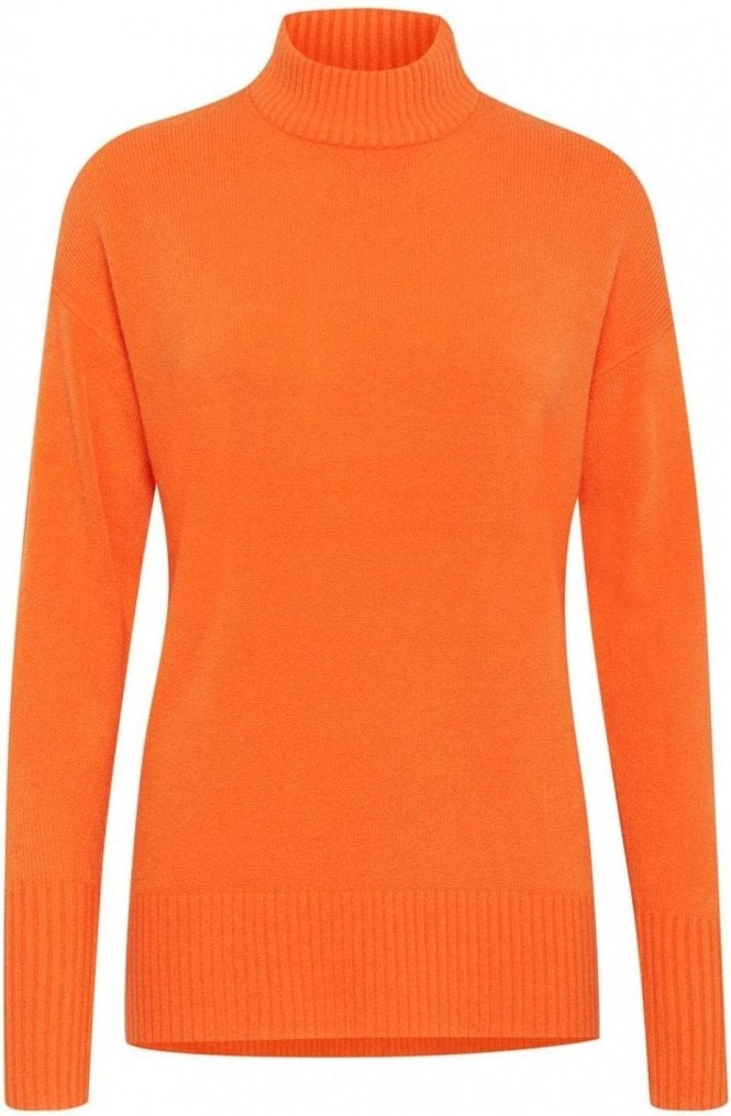 b.young Orange High Neck Jumper