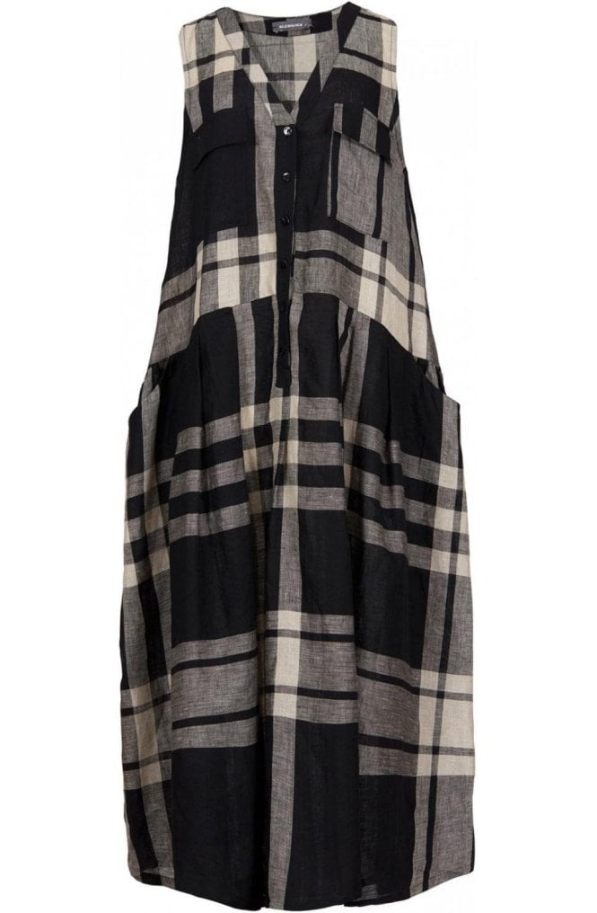 Alembika Check Print Linen Dress