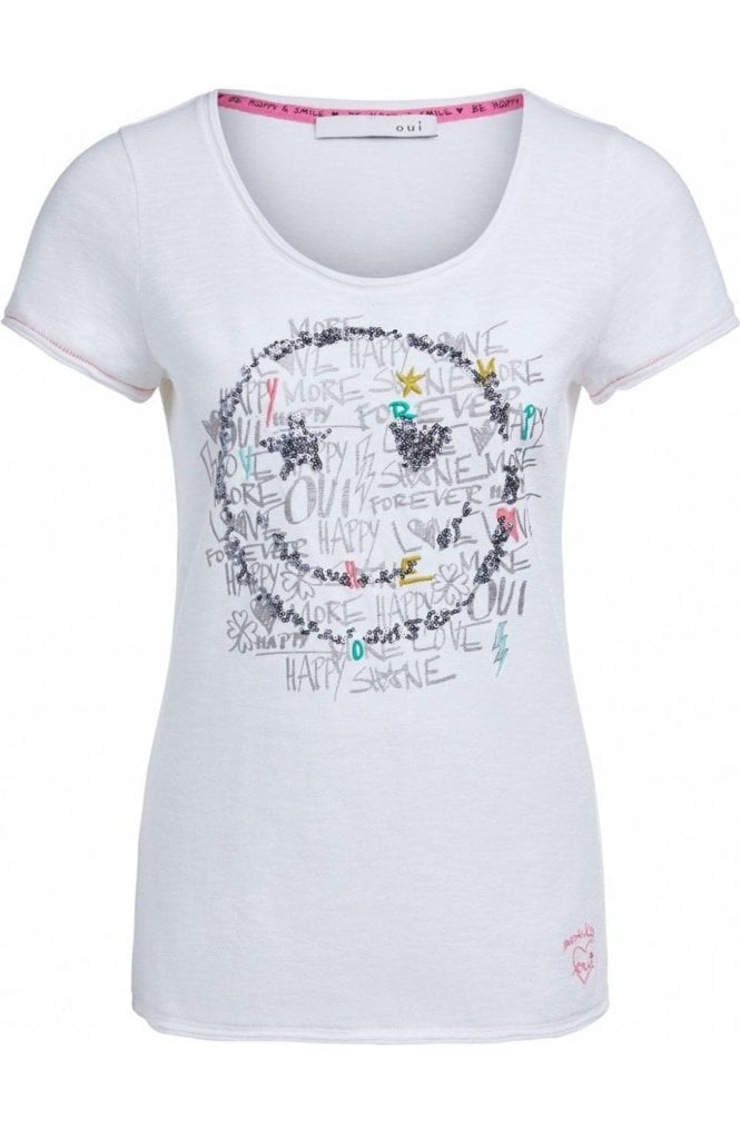 Oui Sequin Smiley Face T-Shirt