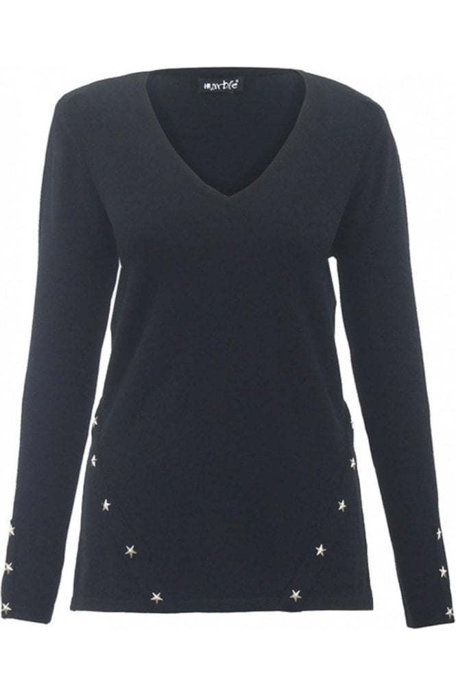 Marble fashion Black Star Detailed Jumper
