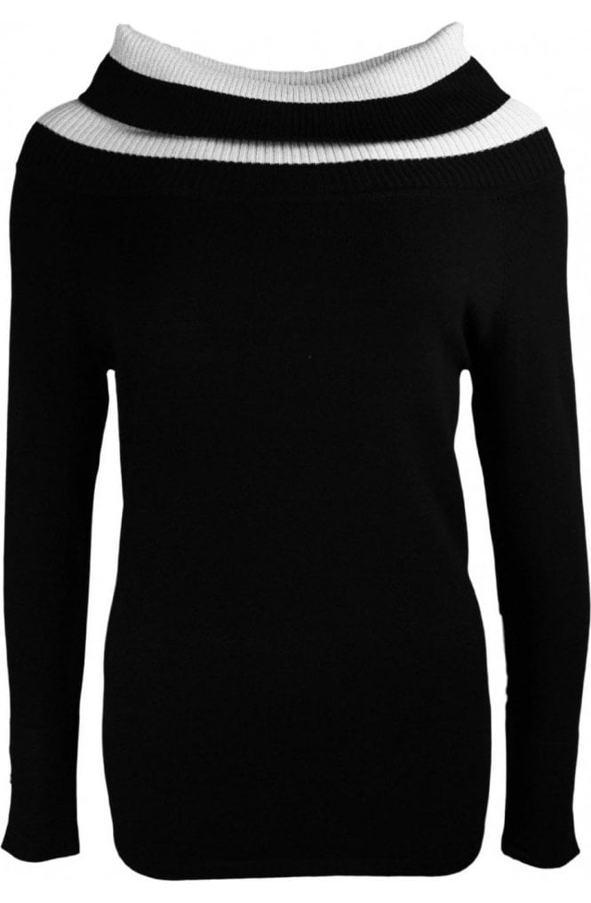 Marble fashion Black Cowl Neck Jumper