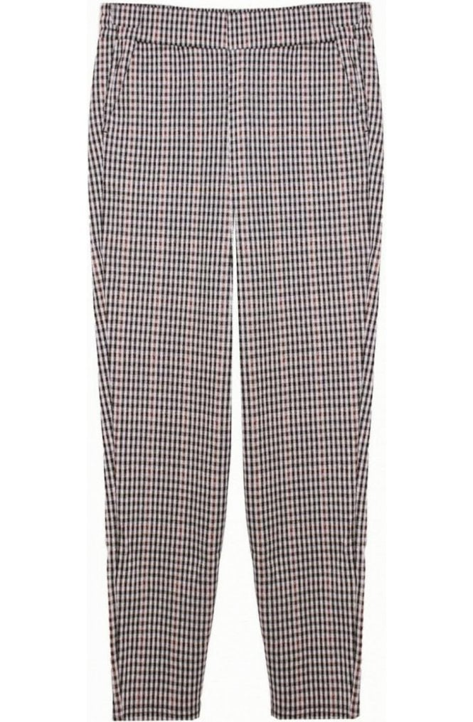 b.young Chocolate Check Print Trousers