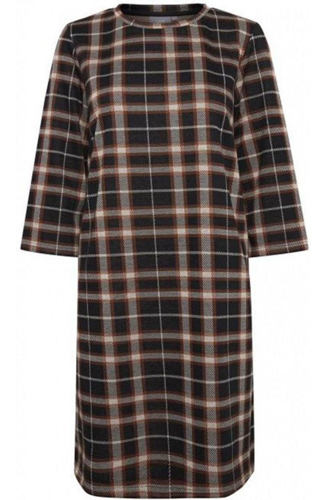 b.young Check Print Fitted Dress