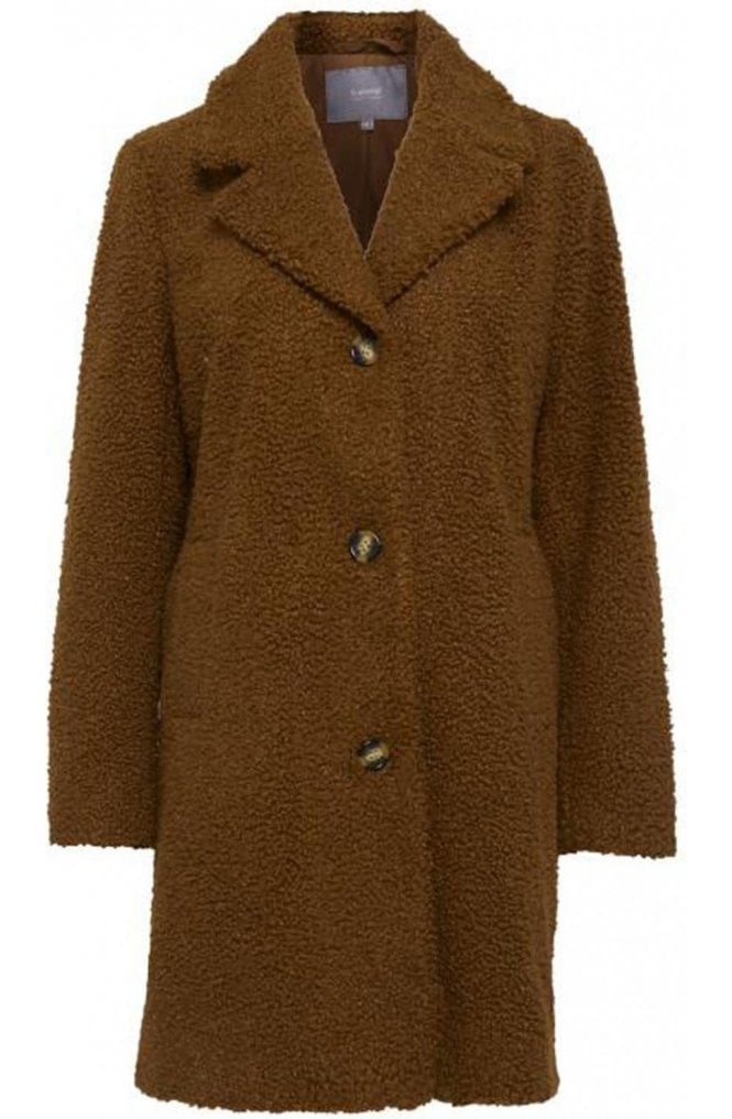 b.young Golden Toffee Teddy Coat