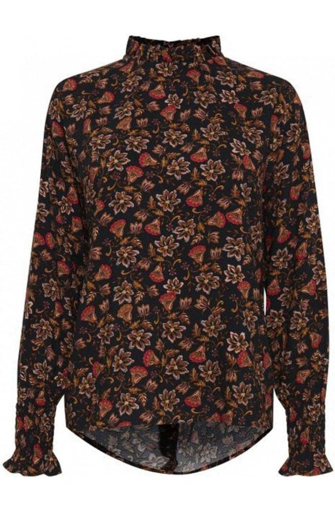 b.young Frill Neck Floral Print Blouse
