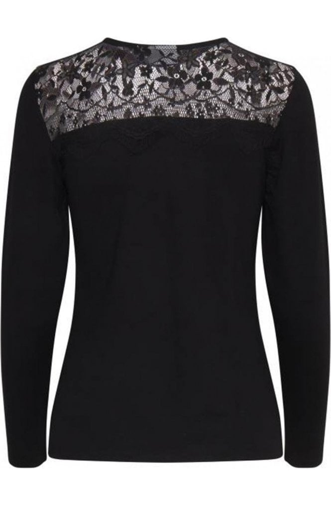b.young Black Lace Detailed Top