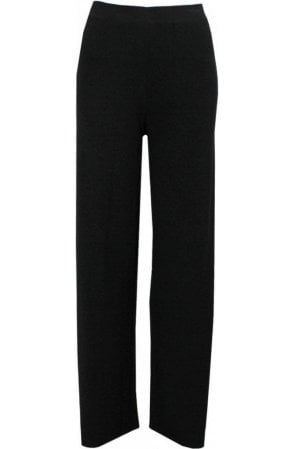 Wide Leg Black Jersey Trousers