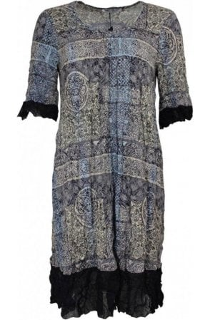 Crushed Effect Vintage Print Dress