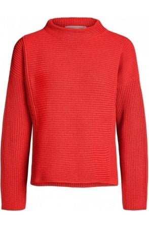 Red Ribbed Knit Sweater